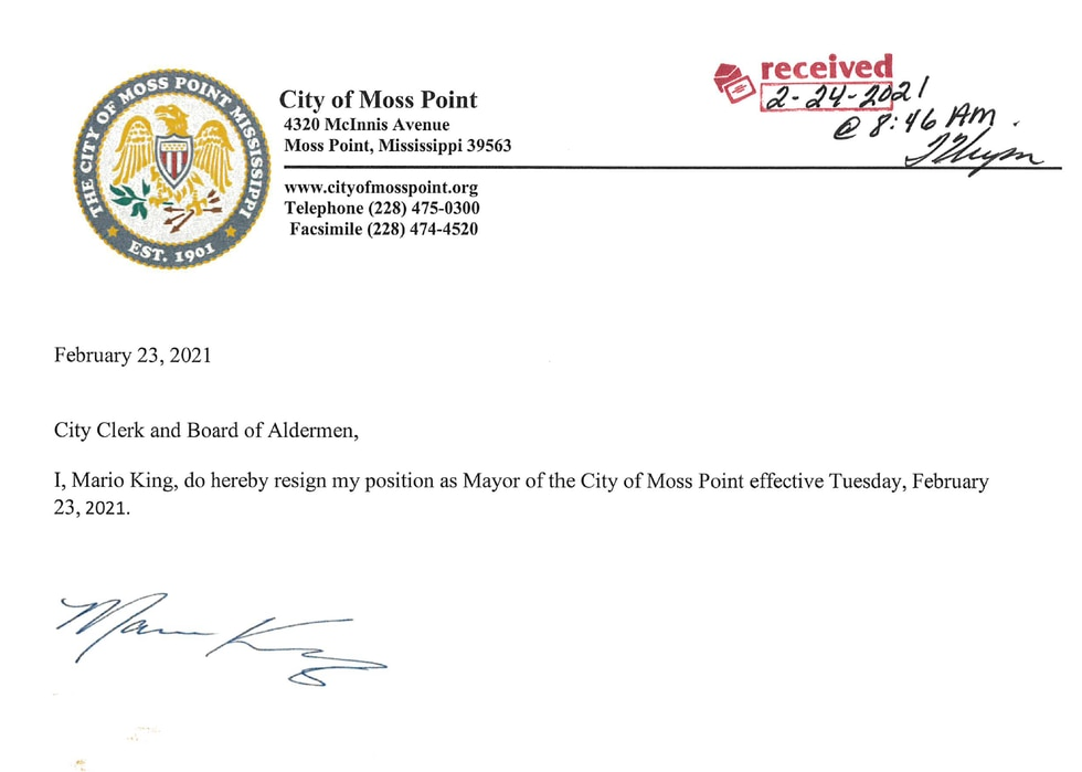 Mario King submitted this resignation letter to the city clerk and board of alderman on Feb....