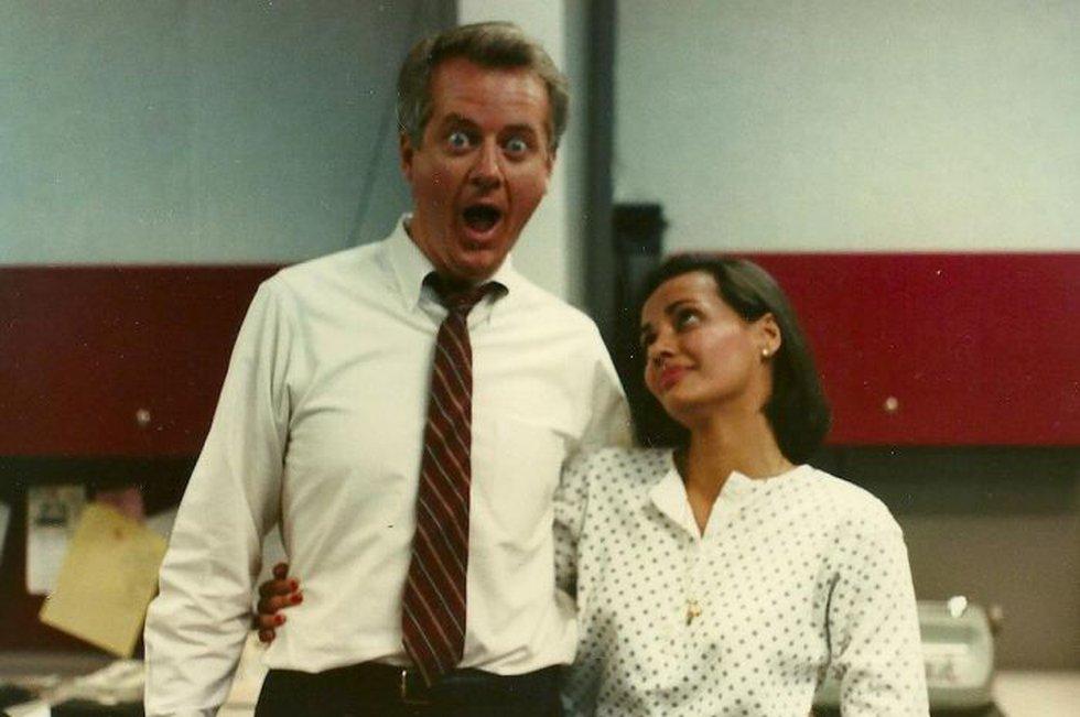 Jeff and former co-anchor Gurvir Dhindsa joking around in the newsroom, 1989. (Photo source:...
