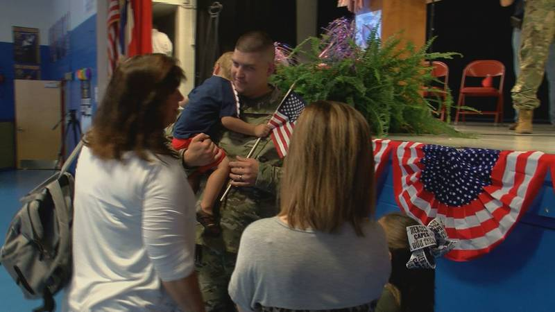 Families spent the day together before the soldiers leave for a year.