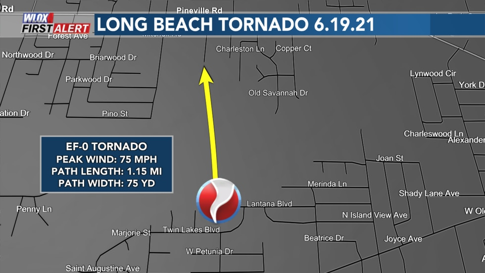 NWS Confirms a tornado touched down in Long Beach around 2:31 AM CDT June 19, 2021