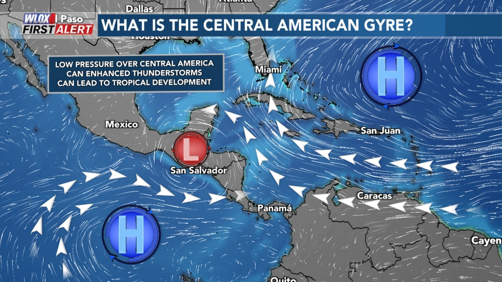 The Central American Gyre is a broad area of low pressure that forms in Central American in the...