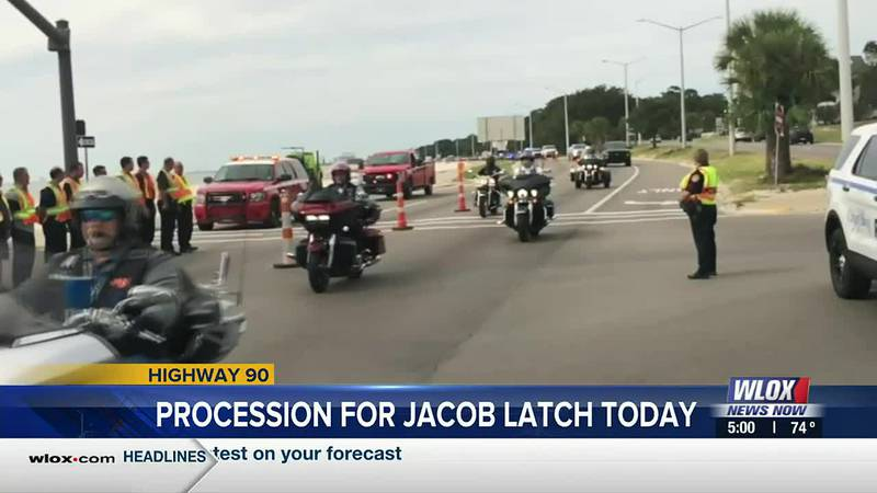Monday morning, a crowd filled Million Air in Gulfport as Pascagoula Fire Capt. Jacob Latch's...