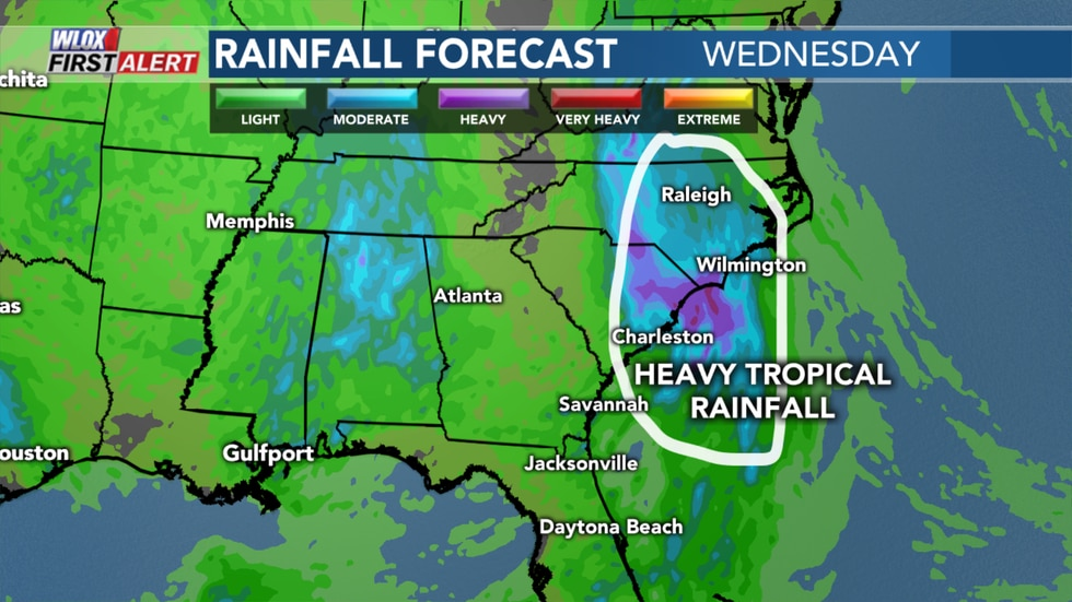 Heavy tropical rainfall and gusty wind will be possible near South Carolina and North Carolina...