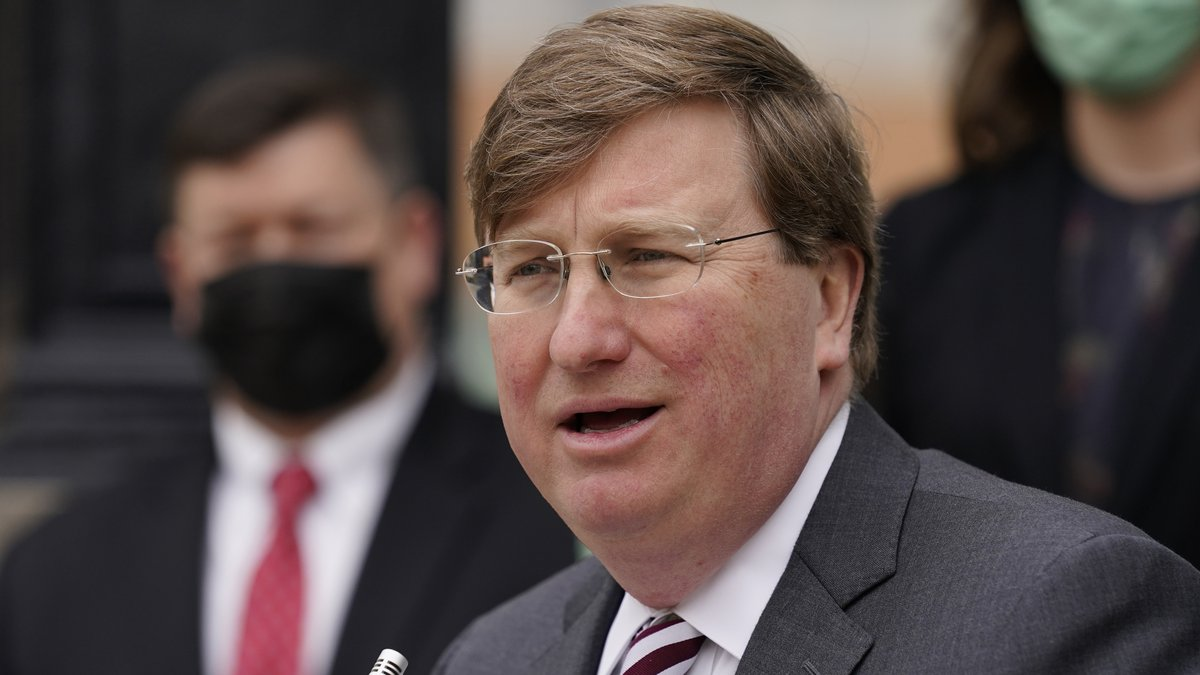 Gov. Tate Reeves speaks about his hopes for the state's continued economic growth during the...