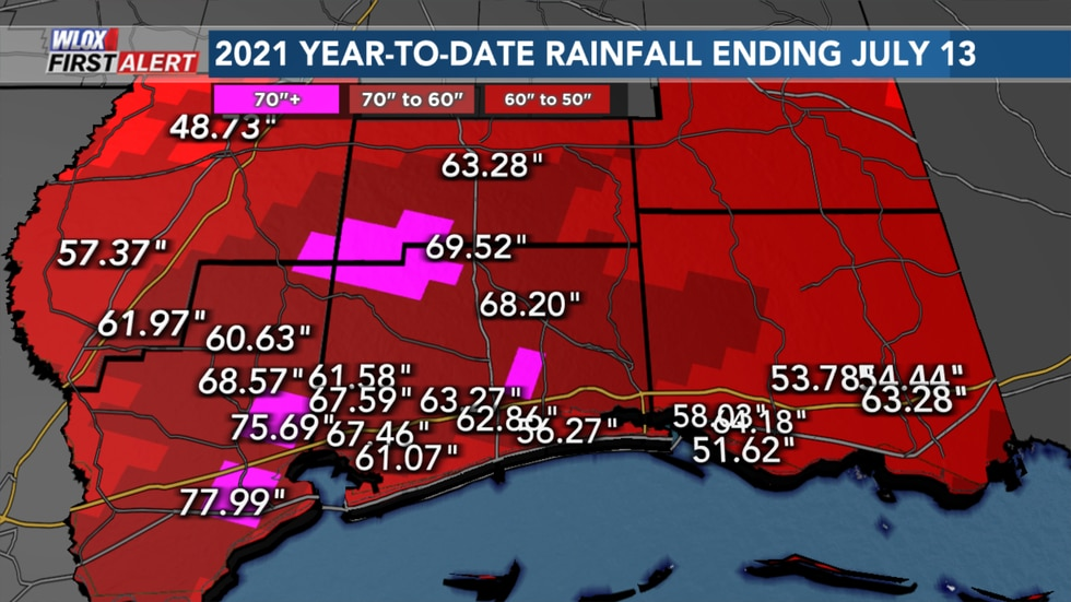 South Mississippi rainfall has been about 50 to 70 inches based on the map.