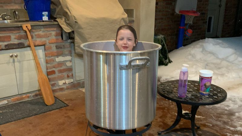 """""""With no water service, my sister just used their crawfish pot to melt snow and warm up the..."""