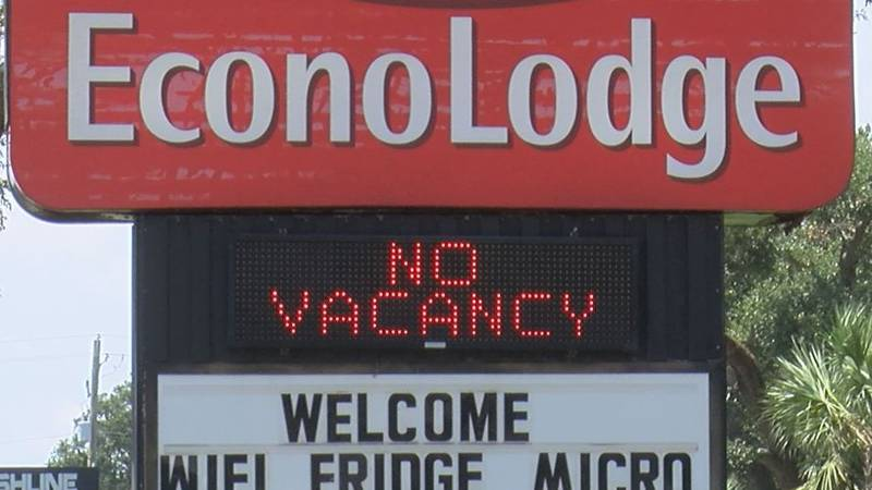 """""""No Vacancy"""" signs are a common sight on Highway 90 as evacuees dominate the hotel bookings..."""