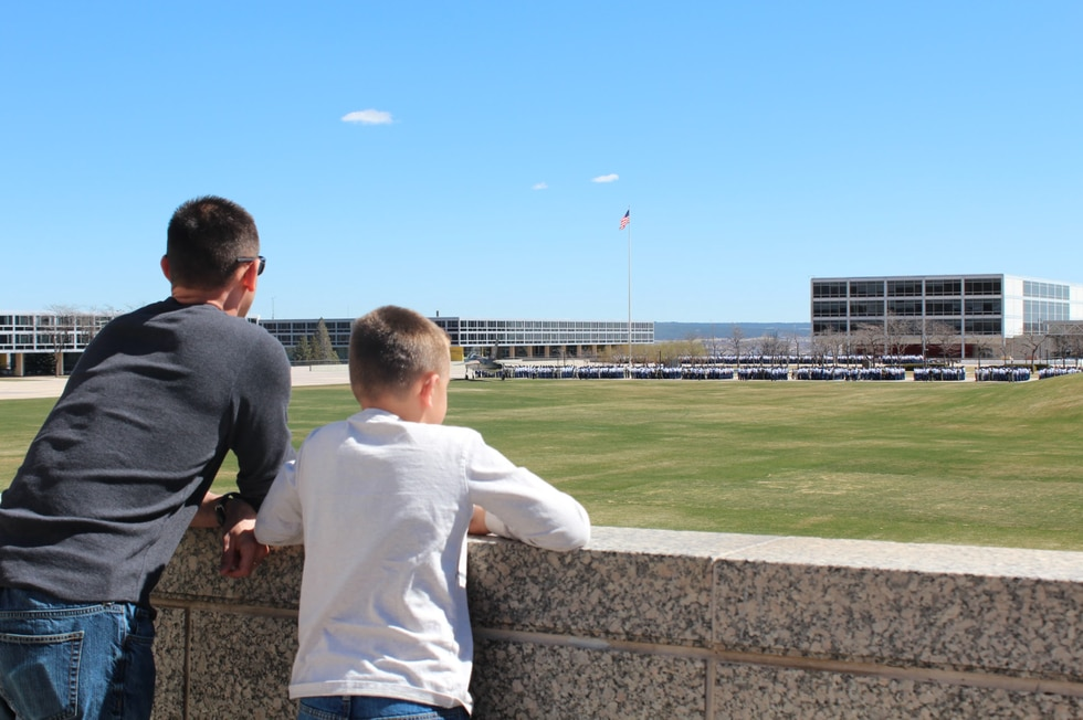 Ashton Rubio and his dad look out over the U.S. Air Force Academy during a visit to Colorado...