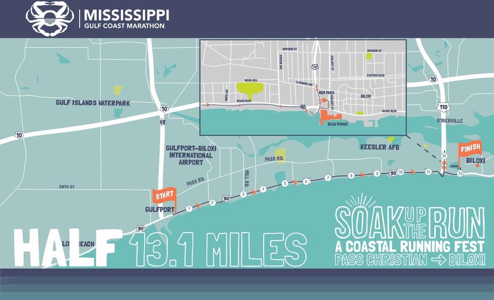 The half marathon will start at Jones Park in Gulfport.