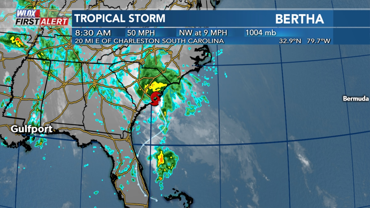Tropical Storm Bertha formed just offshore of South Carolina on Wednesday morning.