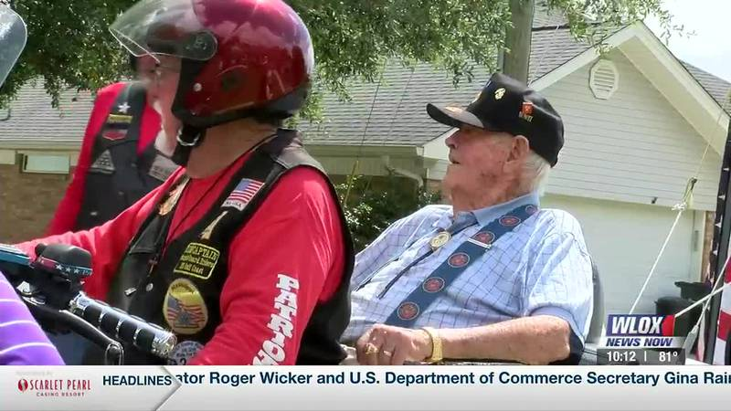 Bob Walker, who served in the battle of Iwo Jima, was given a drive-by celebration thanks to...