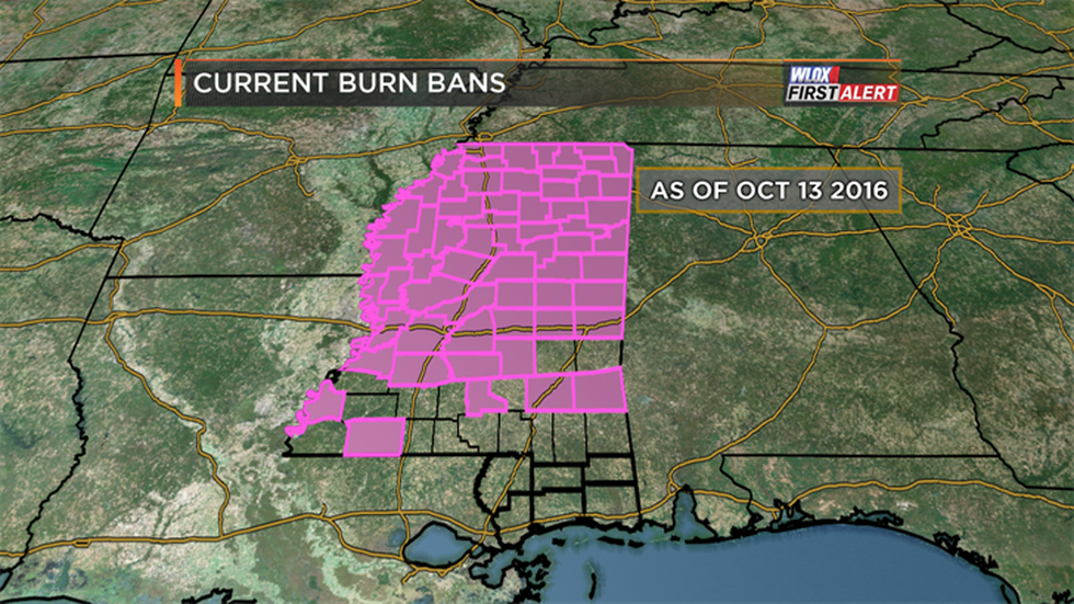 Burn bans are beginning to pop up south of I-20. But, as of October 13th, none of the WLOX area...