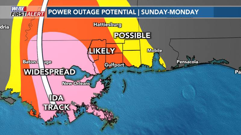 Power outage potential from Hurricane Ida - 3:50pm Sunday, Aug. 29, 2021