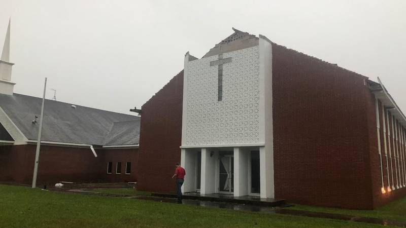 Four Mile Creek Baptist Church took a direct hit during the storm.