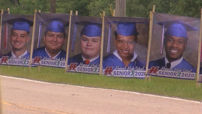 Hancock High School banners honoring the senior class of 2020.