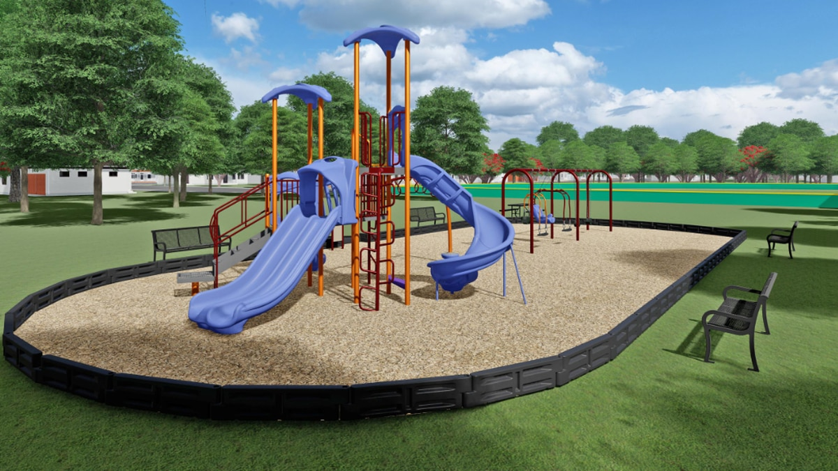 This is a 3D model of the new playground set that the program plans to build at St. Mary's Park.