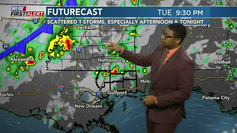 Warm with scattered t-storms today & tonight. Then, cold front arrives early Wednesday. Click...