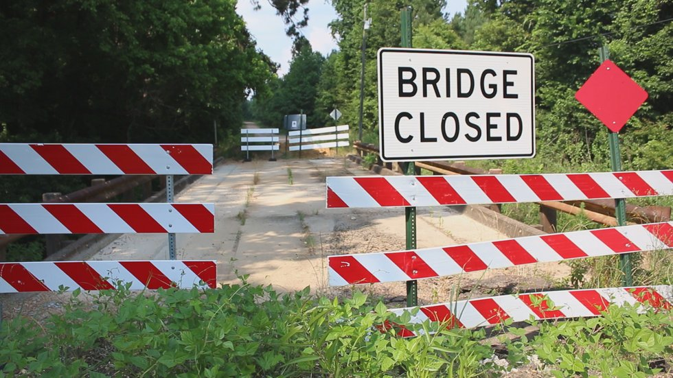One of several bridges out in Wilkinson County. (Source: WLBT)