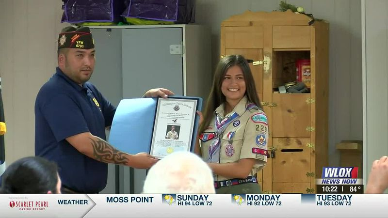Eagle Scout Lucia Barberena was recognized by the Ocean Springs VFW as Scout of the Year after...