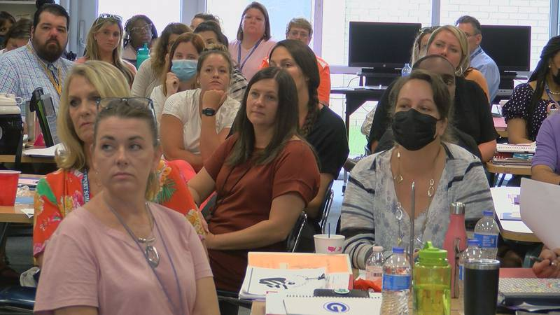 Gulfport Middle School teachers listen in a training session on Wednesday as they prepare for...