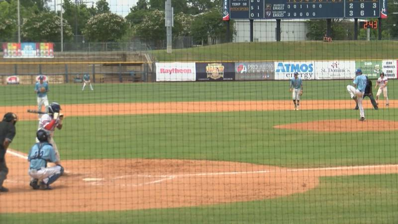 Cole Tingle winds up to throw a pitch against Tupelo Christian in game one of the MHSAA 1A...