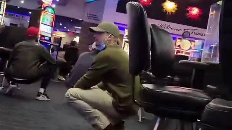This viewer video shows the scene inside the Treasure Bay casino after a gunshot was heard on...