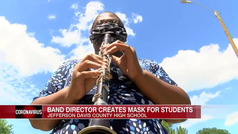 Band Director creates masks for students