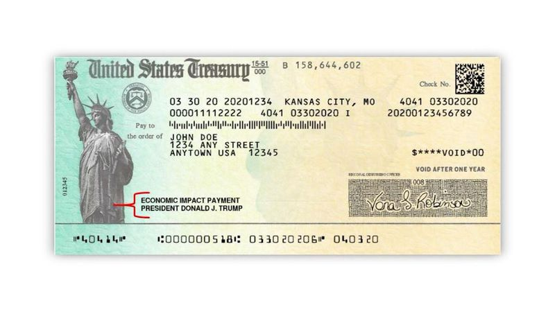 This marks the first time in history a president's name appears on an IRS check.