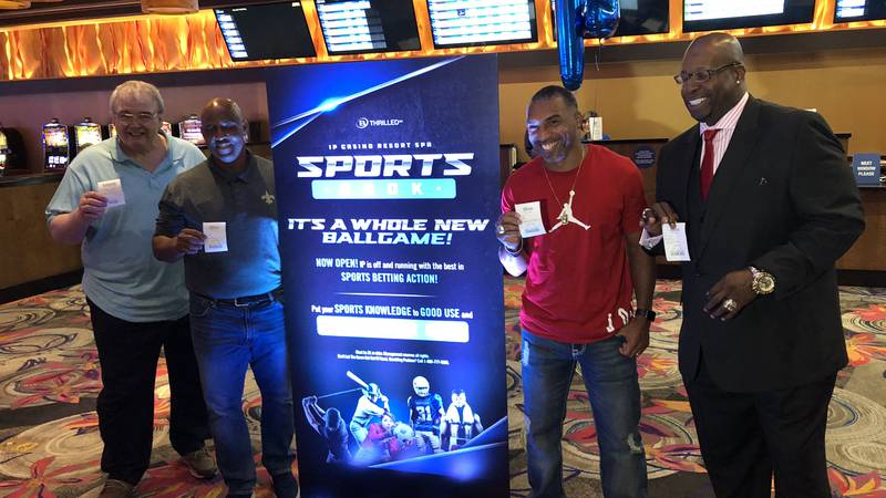 Four football stars with ties to New Orleans ventured over to Biloxi to open the FanDuel...