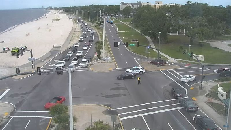Part of Highway 90 in Biloxi is closed after a pedestrian was hit by a vehicle Monday morning.