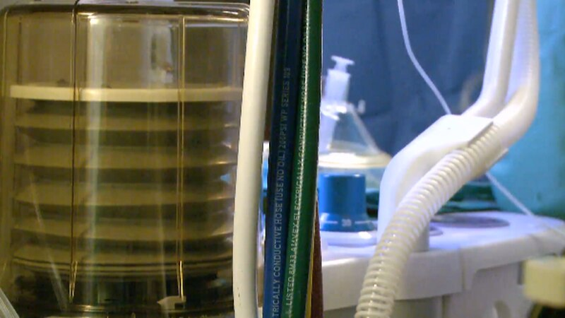 Ventilator inside a hospital.