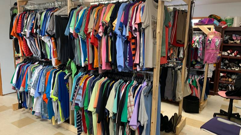The clothes donation closet serves people in need.