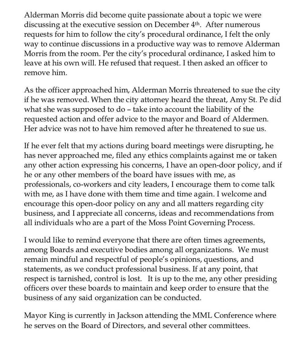 Moss Point Mayor Mario King releases a statement regarding a tort claim filed against him by...