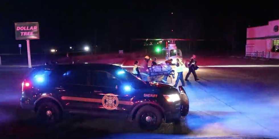 A helicopter transported the woman to a trauma center.