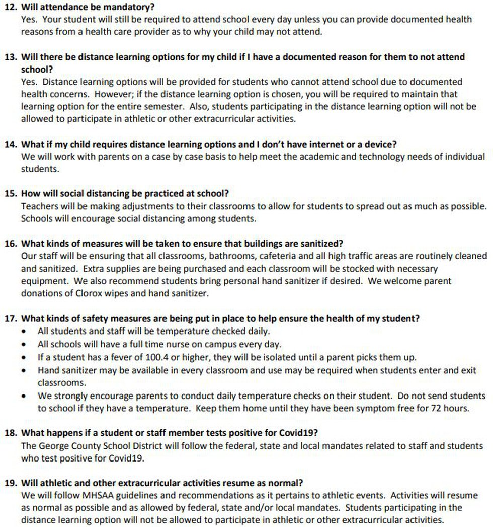 George County School District FAQs for the 2020-2021 school year