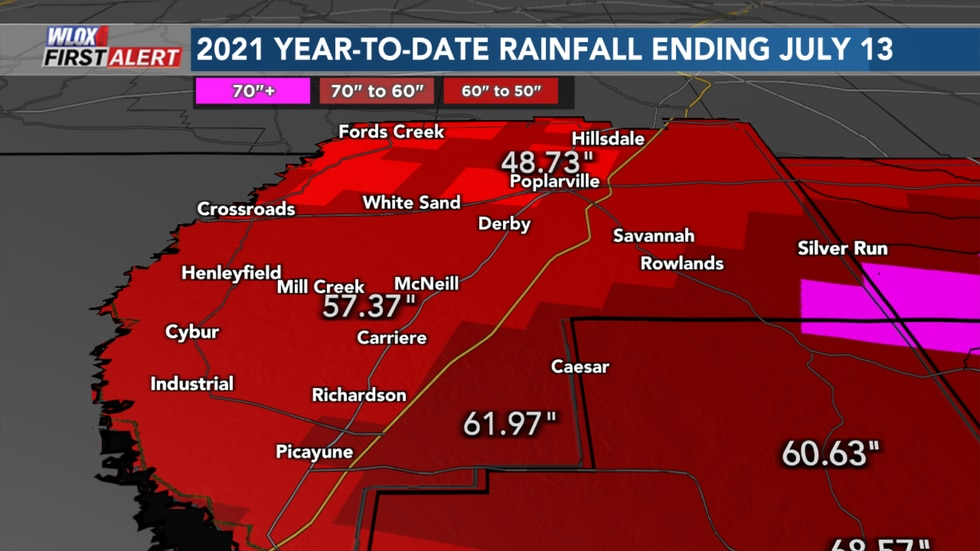 Pearl River County rainfall has been about 40 to 60 inches based on the map.