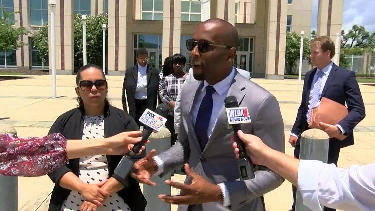 Former Moss Point Mayor Mario King gives an impromptu press conference following his sentencing...