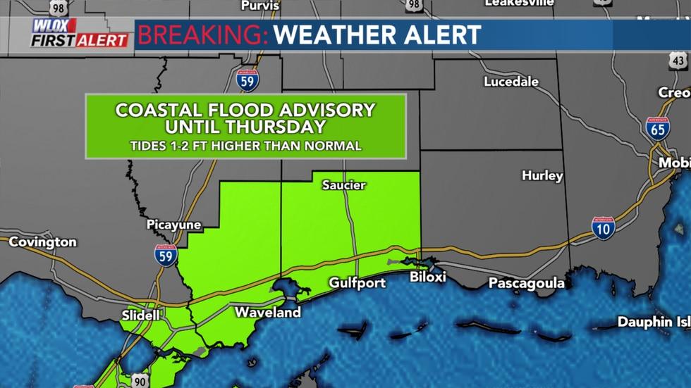 Coastal Flood Advisory for South Mississippi through Thursday