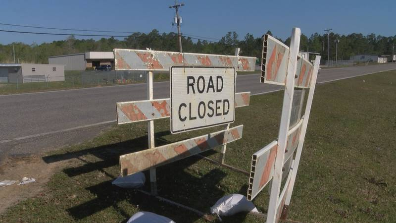 Road closed barricades are ready to go up along Shriners Boulevard.