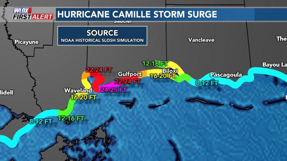 NOAA Historical SLOSH storm surge model simulation of Hurricane Camille's storm surge.