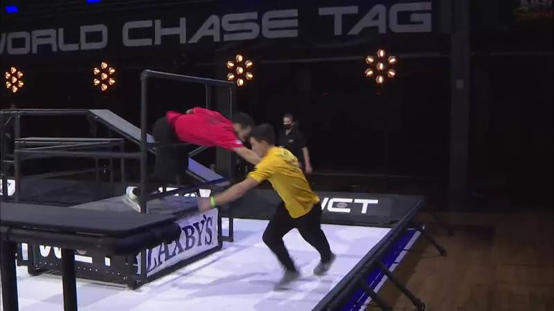 World Chase tag is the ultimate test of 1-on-1 pursuit between athletes displaying...