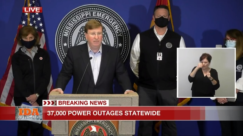 Governor Tate Reeves, FEMA Administrator Deanne Criswell, and Executive Director of Mississippi...
