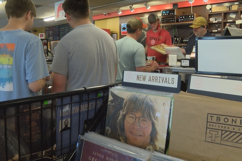 Record buyers line up to make purchases at T-Bones Records and Cafe during Record Store Day...