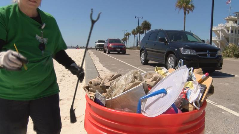 Volunteers helped clean up Harrison County beaches on Sunday.