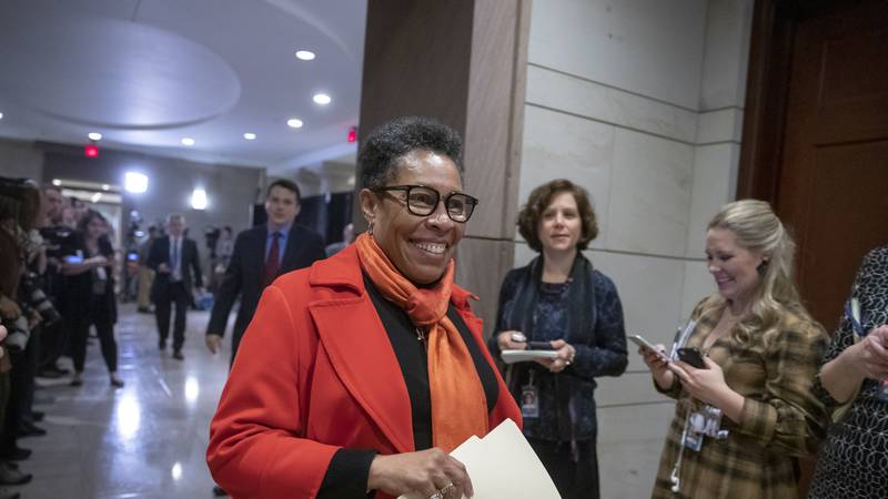 FILE - In this Nov. 28, 2018, file photo Rep. Marcia Fudge, D-Ohio, who declined to enter the...