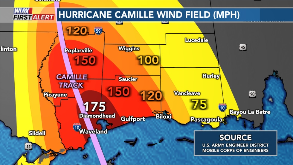Hurricane Camille estimated wind field by U.S. Army Engineer District, Mobile Corps of...