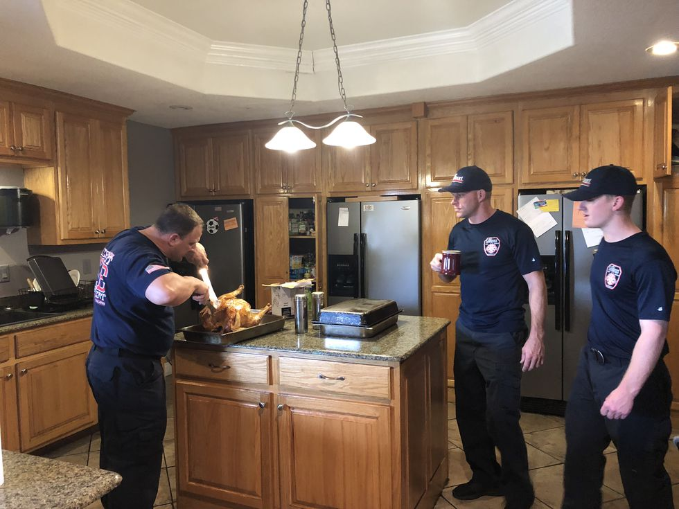 Gulfport's on duty firemen got a Christmas gift from a local women's group, they got a dinner...