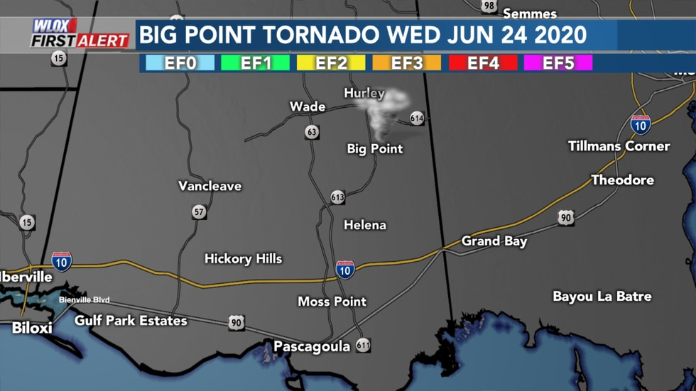 EF0 Big Point tornado from Wednesday June 24 2020