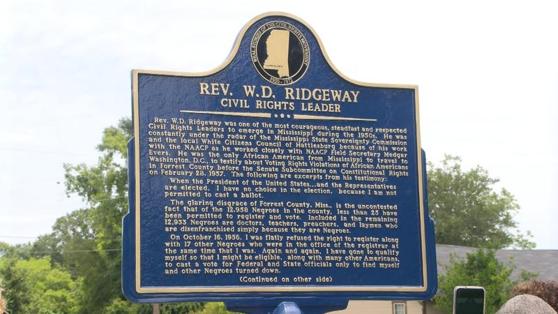 Rev. W.D. Ridgeway honored with historical marker in Hattiesburg.