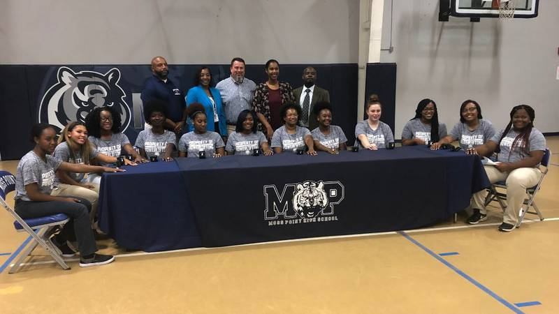 The Moss Point Girls Powerlifting Team celebrates their 3rd straight state championship.